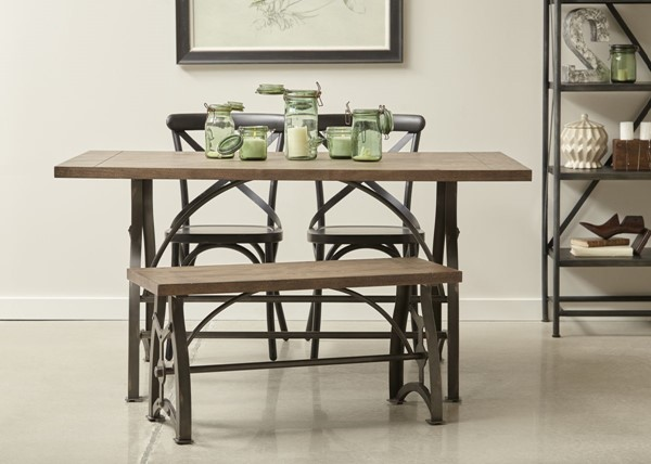 Home Meridian Wood and Metal Dining Set RH-DS-D088-DR-K2