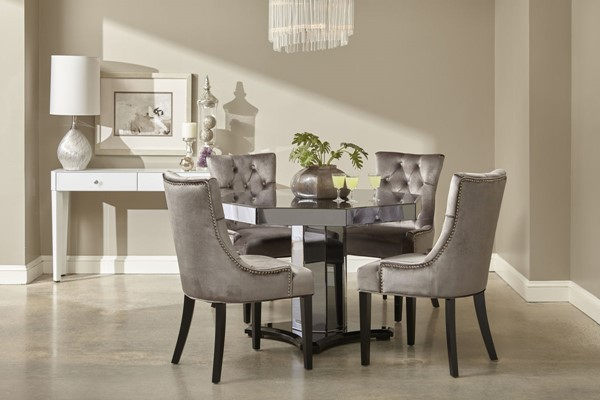 Pulaski Furniture Mirrored Octagon Pedestal Table with Four Chairs RH-DS-D114-DR-K2