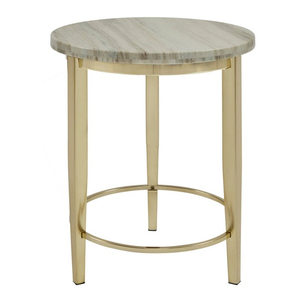 Home Meridian Gold Metal White Marble Top Side Table RH-DS-D198-210