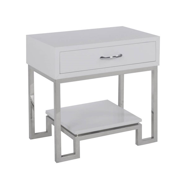 Home Meridian White High Gloss Chairside Chest RH-DS-D204-014