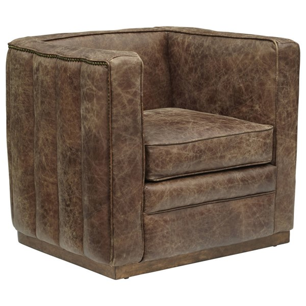 Home Meridian Brown Leather Solid Rubberwood Channel Tufted Sheltered Chair RH-DS-D229-712