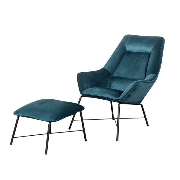 Home Meridian Small Space Blue Velvet Chair and Ottoman Set RH-DS-D229-713-1