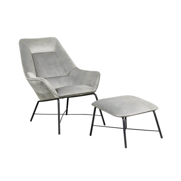 Home Meridian Small Space Silver Velvet Chair and Ottoman Set RH-DS-D229-713-2