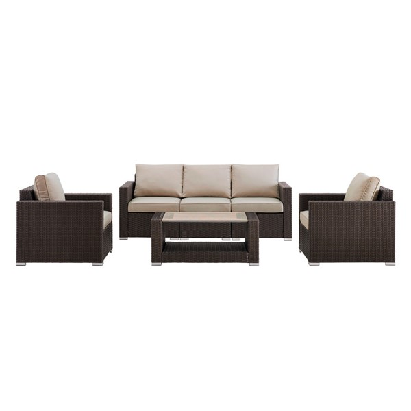Home Meridian Brown Woven 4pc Outdoor Seating Set RH-DS-D320-K1