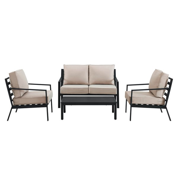 Home Meridian Black Beige Slat Back 4pc Outdoor Seating Set RH-DS-D322-K1