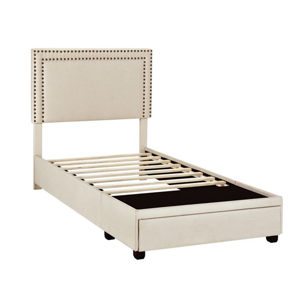 Home Meridian Linen Twin Nail Trim Storage Bed RH-DS-D402-284-2