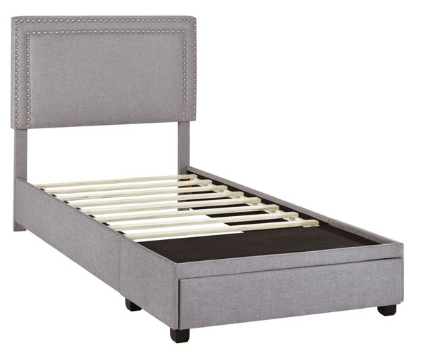 Home Meridian Gray Twin Nail Trim Storage Bed RH-DS-D402-284-3