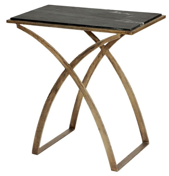 Home Meridian Gold Iron Side Table With Marble Top RH-DS-D428-210