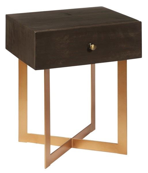 Home Meridian Brown One Drawer Side Table RH-DS-D454-212