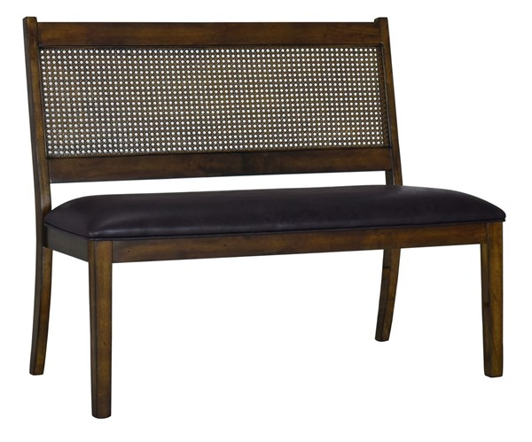 Home Meridian Cane Brown Wood Upholstered Settee RH-DS-D469-180