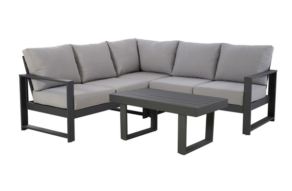 Home Meridian Gray Metal Sectional With Cocktail Table RH-DS-D471-OUT-K1