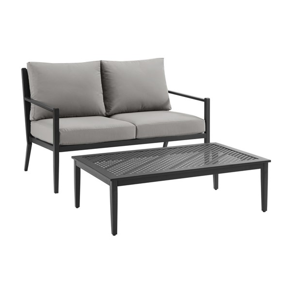 Home Meridian Gray Metal Base Loveseat and Coffee Table set RH-DS-D476-700-1