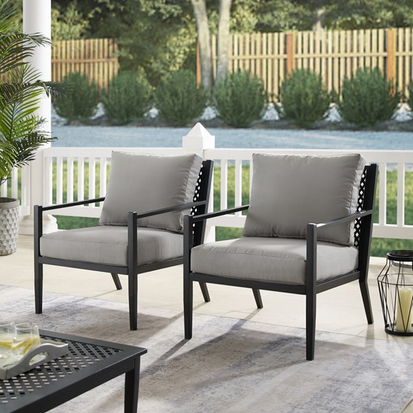 2 Home Meridian Gray Fabric Chairs RH-DS-D476-701-1