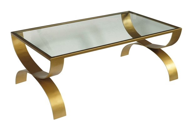 Home Meridian Bella Gold Iron Coffee Table with Glass Top RH-DS-D506-211
