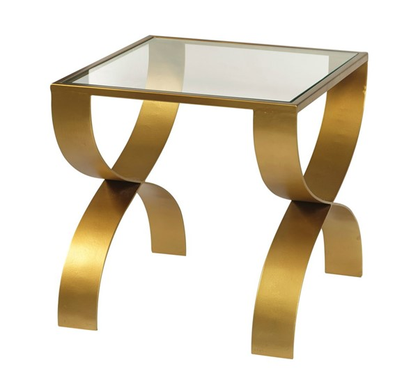 Home Meridian Bella Gold Iron End Table with Glass Top RH-DS-D506-212