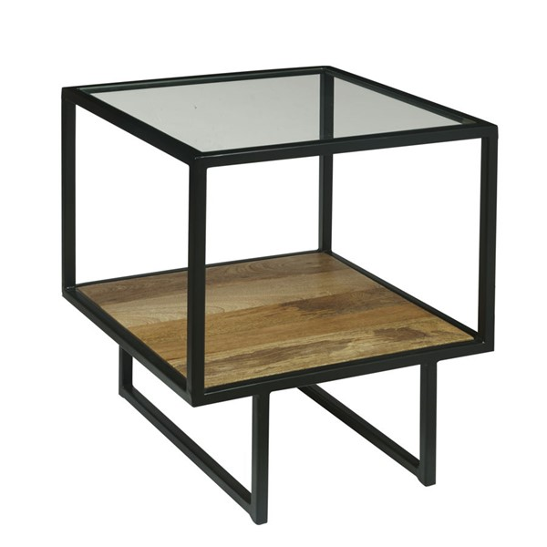 Home Meridian Black Iron End Table with Glass Top RH-DS-D506-216