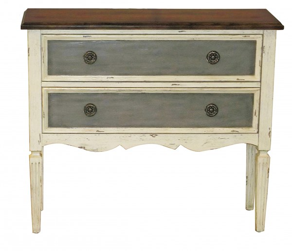Traditional White Hardwood Three Tone Distressed Hall Drawer Chest RH-DS-P017066