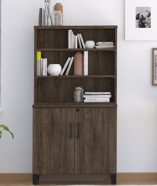 HMidea Walnut wood 3 Shelf Bookcase with Storage RH-J007-2000-K1
