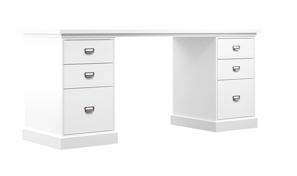 HMidea White Double Pedestal Desk Set RH-J020-OFF-K2