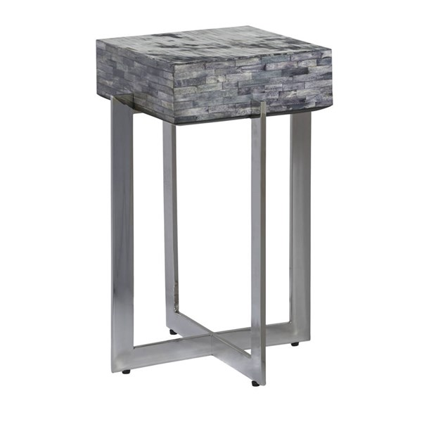 White And Gray Bone Inlay Accent Table: Home Meridian Calvin Gray Bone Inlay Accent Table