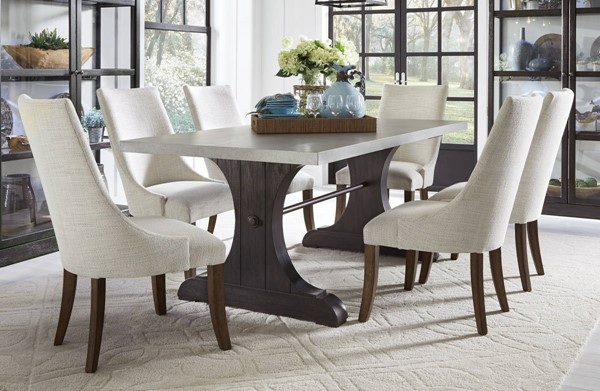 Pulaski The Art Of Dining Brown Taupe 7pc Trestle Dining Set with Upholster Side Chair RH-P11914-DR-S11