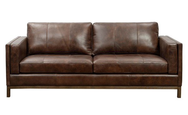 Home Meridian Brown Drake Leather Sofa RH-P906-680-1727