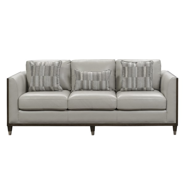 Home Meridian Grey Leather Sofa RH-P907-680-1728
