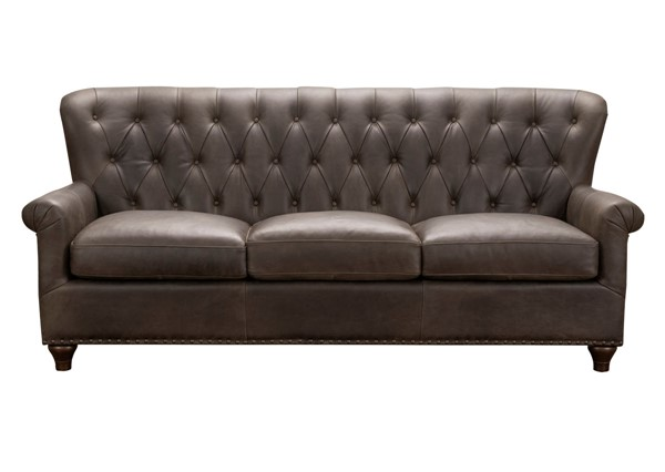 Home Meridian Brown Tufted Leather Sofa RH-P927-680-1752