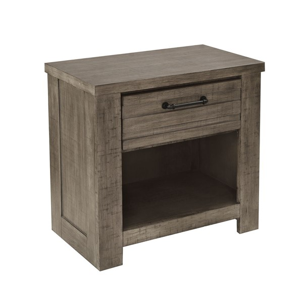 Samuel Lawrence Ruff Hewn Weathered Taupe USB Nightstand RH-S079-050