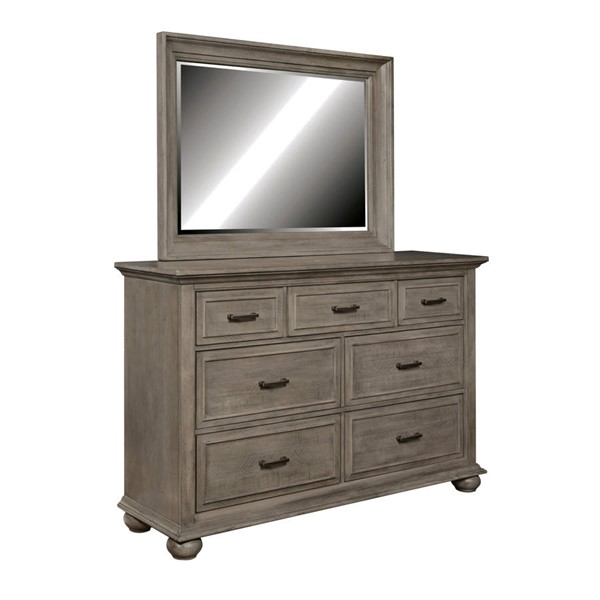 Samuel Lawrence Chatham Park Warm Grey Hardwood 7 Drawer Dresser and Landscape Mirror RH-S095-DRMR