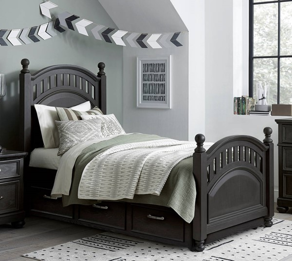 Samuel Lawrence Tundra Charcoal Brown Full Poster Trundle Bed RH-S384-FPSTT-BED