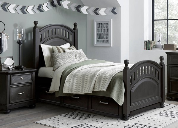 Samuel Lawrence Tundra Charcoal Brown 2pc Bedroom Set With Full Poster Trundle Bed RH-S384-KBR-S4
