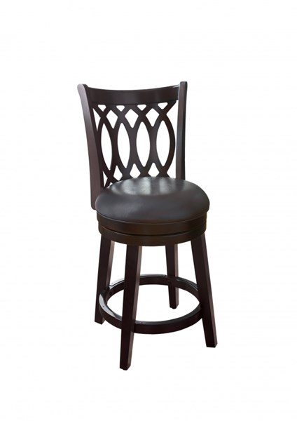 Contemporary Brown Bonded Leather Wood Cross Back 24 Swivel Barstool RH-DS-700-501-M