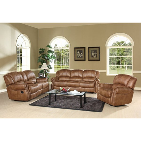 Standard Tan Brown Wood Polyester 3pc Living Room Set RH-2800-SET-VAR