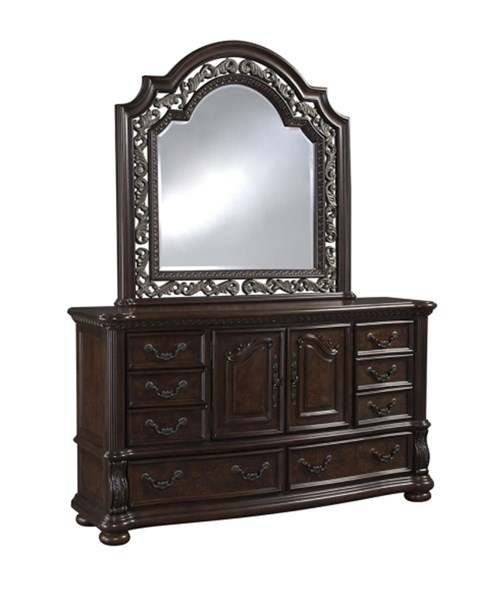 San Marino Brown Hardwood Glass Dresser And Mirror RH-3530-DR-MR