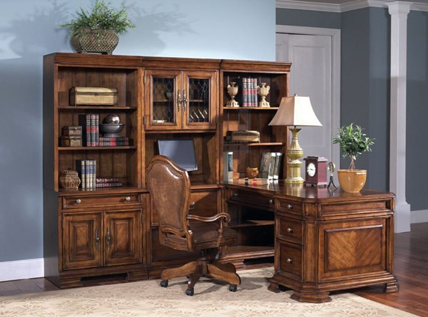 Madison Traditional Brown Wood Office Furniture Set w/Chair RH-4455-HO-CH-SET