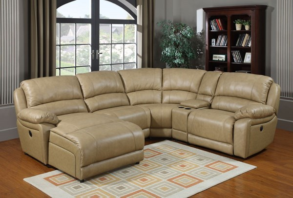 Brisbane Taupe Wood Steel Leather Sectionals RH-862-SEC