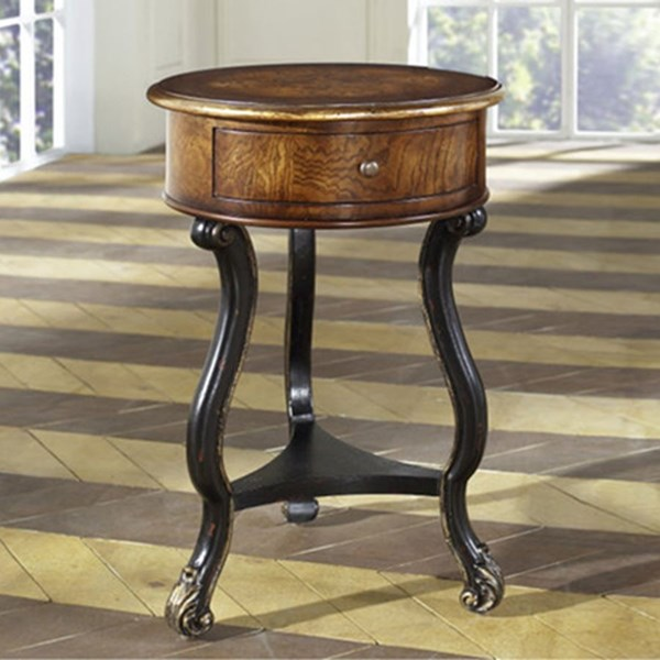 Lathan Brown Hardwood Two Tone Round Accent Table RH-977187
