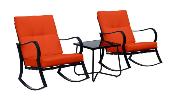 Saint Birch Orange Black Rocking Chairs and End Table 3pc Set SANT-SBDYTA008BOR