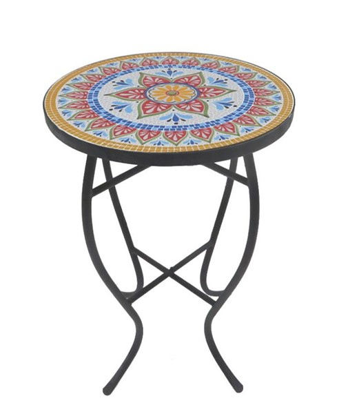 Saint Birch Cloris Lori Mosaic Glass Top Folding Side Table SANT-SBSHOMT006