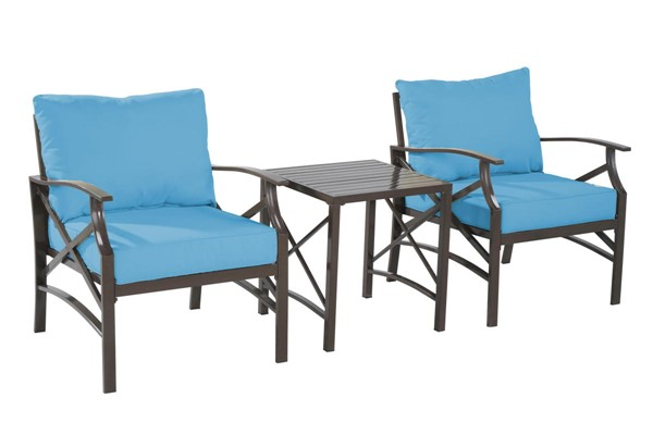 Saint Birch Luxi Sky Blue 2 Lounge Chairs with End Table SANT-SBSWOCS001LCETSB