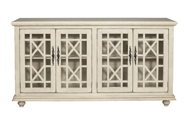 Martin Svensson Elegant Antique White MDF Pine Glass TV Stand SBG-91003