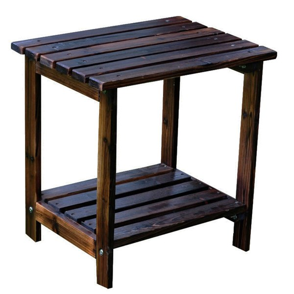 Classic Burnt Brown Cedarwood Rectangular Outdoor Side Table SHN-4104BB