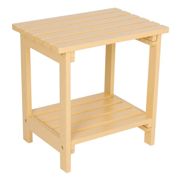 Shine Gold Yellow Cedarwood Rectangular Side Table SHN-4104BW