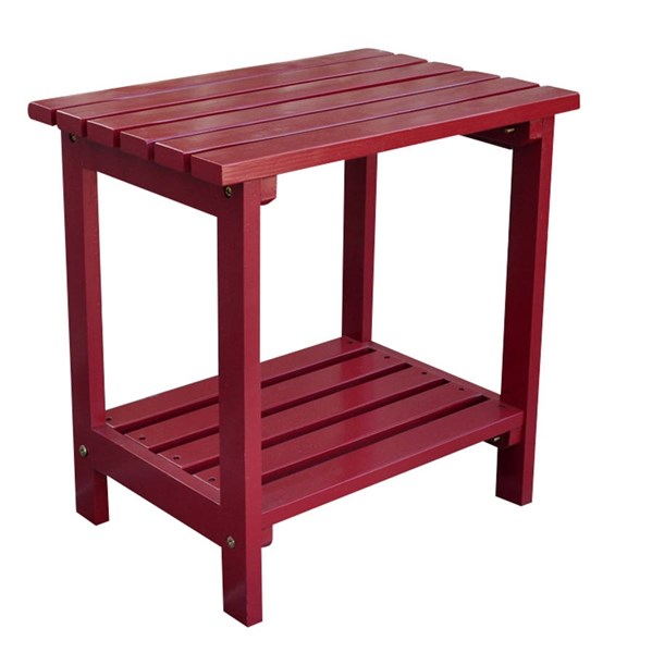 Classic Cherry Red Cedarwood Rectangular Outdoor Side Table SHN-4104CR
