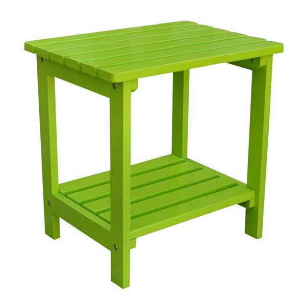 Classic Lime Green Cedarwood Rectangular Outdoor Side Table SHN-4104LG