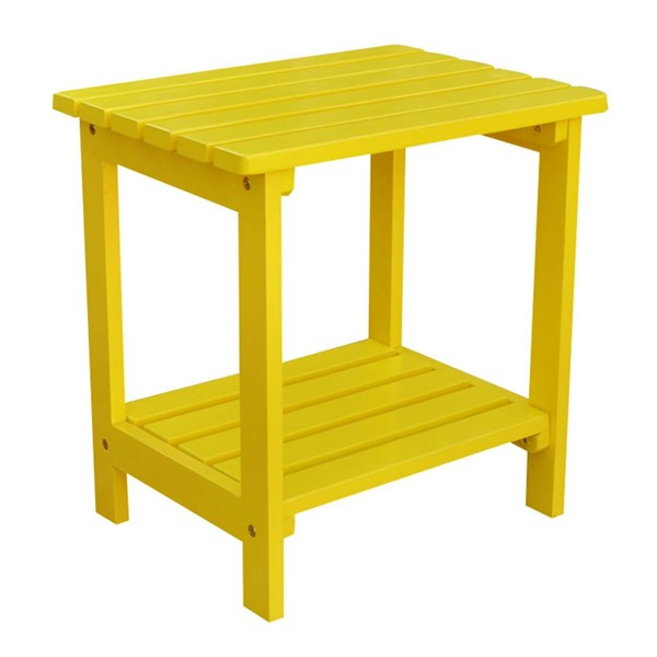 Classic Lemon Yellow Cedarwood Rectangular Outdoor Side Table SHN-4104LY