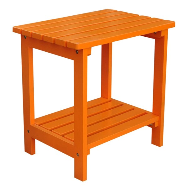 Shine Tangerine Cedarwood Rectangular Side Table SHN-4104TA