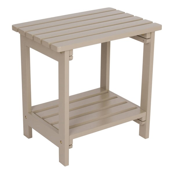 Shine Taupe Gray Cedarwood Rectangular Side Table SHN-4104TG