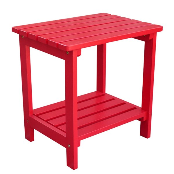 Classic Tomato Red Cedarwood Rectangular Outdoor Side Table SHN-4104TR